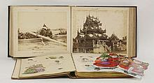 1.  PHOTOGRAPH ALBUM: Colombo; Egypt; Gibraltar; Japan (Yokohama, Nagasaki in colour, Tokyo). With 8 coloured photos, etc;  2.  SCRAP ALBUM:  With some interesting drawings and watercolours, etc. in a 19th century full leather gilt binding   (2)