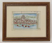 A MANUSCRIPT LEAF:  Middle Eastern harbour view with a Mosque (coloured),  and with Arabic/Persian writing to verso, c.1880