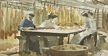 Thomas Cooper Gotch (1854-1931)'BACON TRIMMING AT