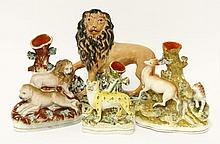 A Staffordshire pottery Lion,   c.1850, standing