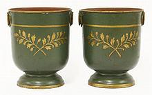 A pair of French tôle peinte coolers,  late 19th