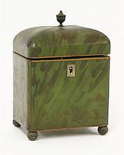 A George III green tortoiseshell tea caddy,   of