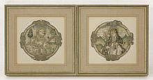 Two Spanish embroidered roundels, 17th century, o