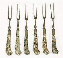 A set of six two-tine steel Dessert Forks,  18th/