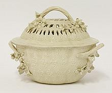 A creamware Chestnut Basket and Cover,   late 18t