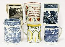 A group of six creamware and pearlware Tankards,c