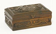 A carved yew wood/fruitwood box, late 18th/19th c