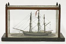 A model barque,late 19th century, in an oak and g