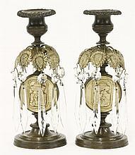 A pair of Princess Charlotte memorial bronze lustr