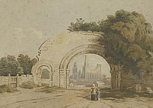 John Varley OWS (1778-1842) BYLAND ABBEY, YORKSHI