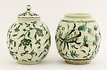 A globular Jar and Cover,c.1800, painted in black