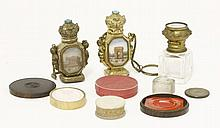Three Grand Tour scent bottles,  two, brass with