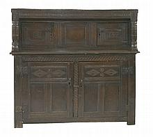 A joined oak press cupboard,17th century, the top