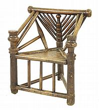 An elm and ash Warwick armchair,17th century, wit