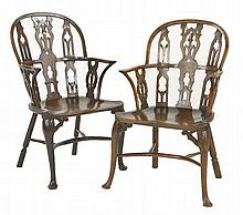 A near pair of yew wood Windsor chairs,  early 18