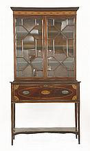 An Edwardian strung mahogany secretaire cabinet,