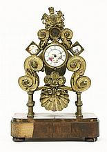 A brass skeleton clock,early 19th century, with c