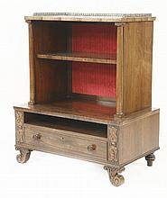 A Regency rosewood dwarf bookcase,fitted with ope