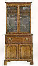 A George III mahogany secretaire bookcase,with gl