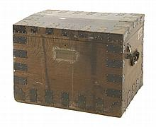 An oak silver chest,  19th century, with iron ban