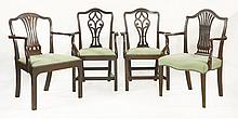 A pair of George III mahogany elbow chairs,   wit