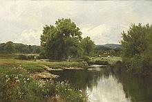 John Clayton Adams (1840-1906)A RIVER LANDSCAPE W