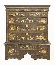 A black lacquered chest on stand, early 18th cent