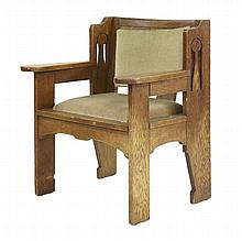 An Arts and Crafts oak 'Ethelbert' armchair,