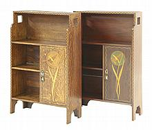 A near pair of oak and mahogany cabinets, by