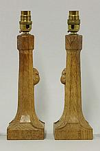 Two Robert 'Mouseman' Thompson table lamps, each