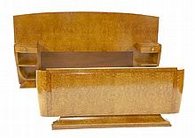 An Art Deco burr walnut bed, possibly by Hille