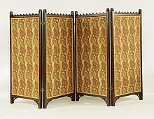 A Victorian Gothic oak four-panel dressing screen,