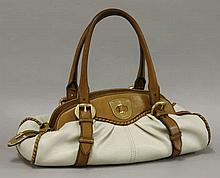 An Alexander McQueen '1962' two-tone leather bag,   tan and cream leath