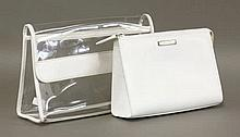 A Gucci clear and white leather clutch bag,  with embossed Gucci label,