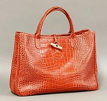 A Longchamp red leather tote bag,  with embossed crocodile print and st