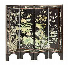 A four-fold coromandel lacquer screen, one side