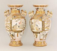 A good pair of Kutani Vases, c.1885, each ovoid