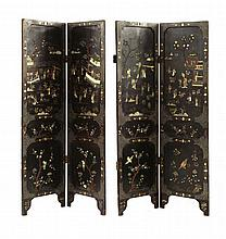 A Chinese lacquered four-fold screen, c.1920, the