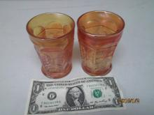 PAIR OF CARNIVAL GLASS CUPS