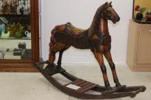 Large Antique Hand Carved Wood Folk Art Rocking Horse H