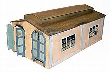 Early Marklin HO 412 tinplate two-stall Engine Shed