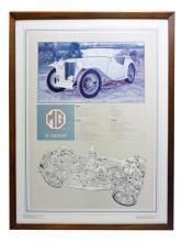 Framed Poster of MG TC Midget