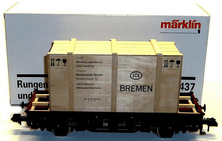 Marklin 1-gauge 5437 4-wheel Low Side Wagon