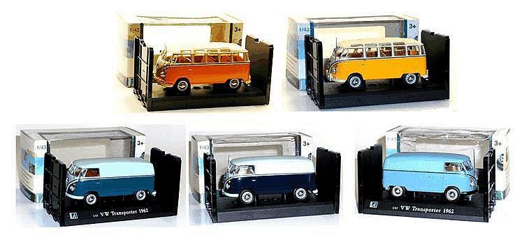 Five Cararama 1:43 Scale Volkswagen 1962 Kombis