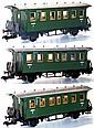 Three Marklin 1-gauge 4-wheel Passenger Coaches