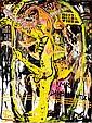 Jonathan Meese (né en 1970) Lady Pürzelldrüse's Traum, 2001-2002 Diptyque Huile sur toile Signée des initiales et datée en bas à gau...