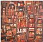 Fateh Moudarres (1922-1999) L'adieu de la bête, 1981 Huile sur toile Signée en arabe et contresignée