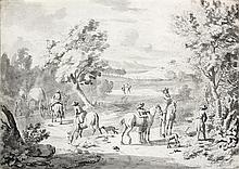 Jan Vincentsz van der VINNE (Haarlem 1663-1721) Halte de cavaliers dans un paysage Plume et encre noire, lavis gris sur traits de cr...