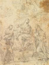 Reynaud LEVIEUX (Nîmes 1613-Rome 1699) La Sainte Famille avec sainte Élisabeth et saint Jean-Baptiste Crayon noir 25 x 19cm Annoté a...
