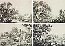 Mathieu Antoine XROUHET (Spa 1672-1747) Un ensemble de douze paysages avec ruines et habitations Plume et encre noire, lavis gris su...